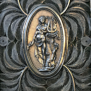 Silver Filigree Card Case with Classical Female - Early 19th Century