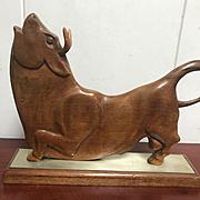 Carved Wooden Bull - Mid Century Modern