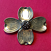 Sterling Dogwood Pin - Heavy and Well Made!