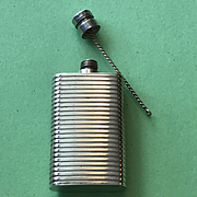 Sterling Ribbed Perfume Bottle - Purse Size