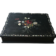 Victorian Lacquered Wood Lap Desk with Mother of Pearl Inlay and Hand Painted Flowers