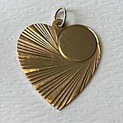 14k Gold Heart Charm / Pendant - 1960's