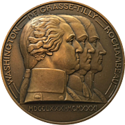 "Large Bronze Deco French Medal - ""Capitulation de York Town"" - Artist  P. Turin - Made in 1931 for the 150th Anniversary"