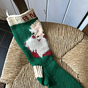 Hand Knitted Christmas Stocking with Santa - Mid Century Sweet!