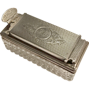English Traveling Inkwell Sterling Silver & Cut Glass - Dated 1873 by Thomas Johnson