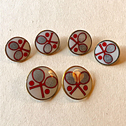 Unusual Enameled Tennis Buttons - Made in Germany - 6 in All