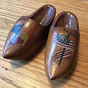 Miniature Wooden Clogs -World War l Commemorative- Belgian Souvenir for the American Allies