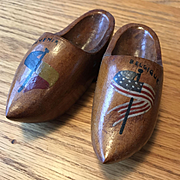 Miniature Wooden Clogs -World War l Commemorative- Belgian Souvenir for the American Allies
