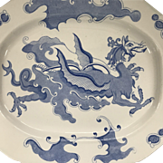 "Large Mason's Platter - Chinese Dragon Pattern in Blue - 18 3/4"" Long - Circa 1820 - Fantastic!"