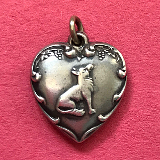 Unusual Sterling Puffy Heart with Sweet Dog !