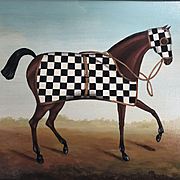 Great Looking Signed Race Horse Painting with Black & White Checked Blanket - Circa 1970's