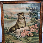 "Large Chromolithograph Print of a Dog Watching over a Girl - Entitled ""TOUCH HER IF YOU DARE"""