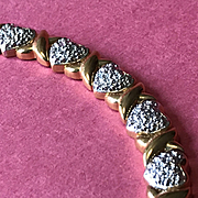 """Sterling Silver Heart Bracelet - Sparkling Hearts and Gilded """"X's"""" For Kisses - Valentine!"""