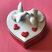 Lovely Ceramic Heart Trinket Box with Loving Doves - Valentine!