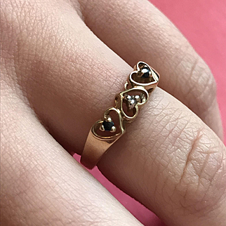 10K Gold Heart Ring - 3 Hearts - 2 Sapphires - 1 Diamond with Box !