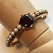 Stunning Victorian Bangle - Garnet - Pearl - Diamond - 14K Gold