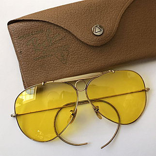 Bausch & Lomb Ray Ban Hunting Yellow Lens Sunglasses & Case - early 1970's - Gold Filled - Great!