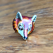 Larter & Sons 14K gold and Enamel Fox Head Tie or Lapel Pin with Diamond Eyes