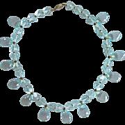 Vintage Outstanding Cut Crystal Choker Aqua