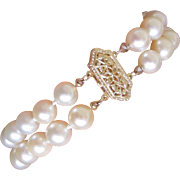 Estate Two Row Cultured Pearls Bracelet 14K Filigree Clasp