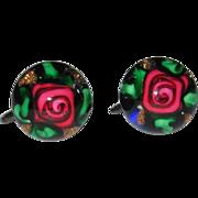 Rare Charles Kaziun Paperweight Earrings