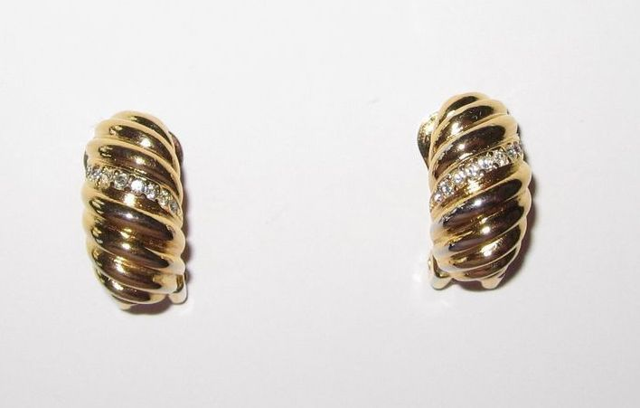 Vintage Christian Dior Clip Rhinestone Earrings