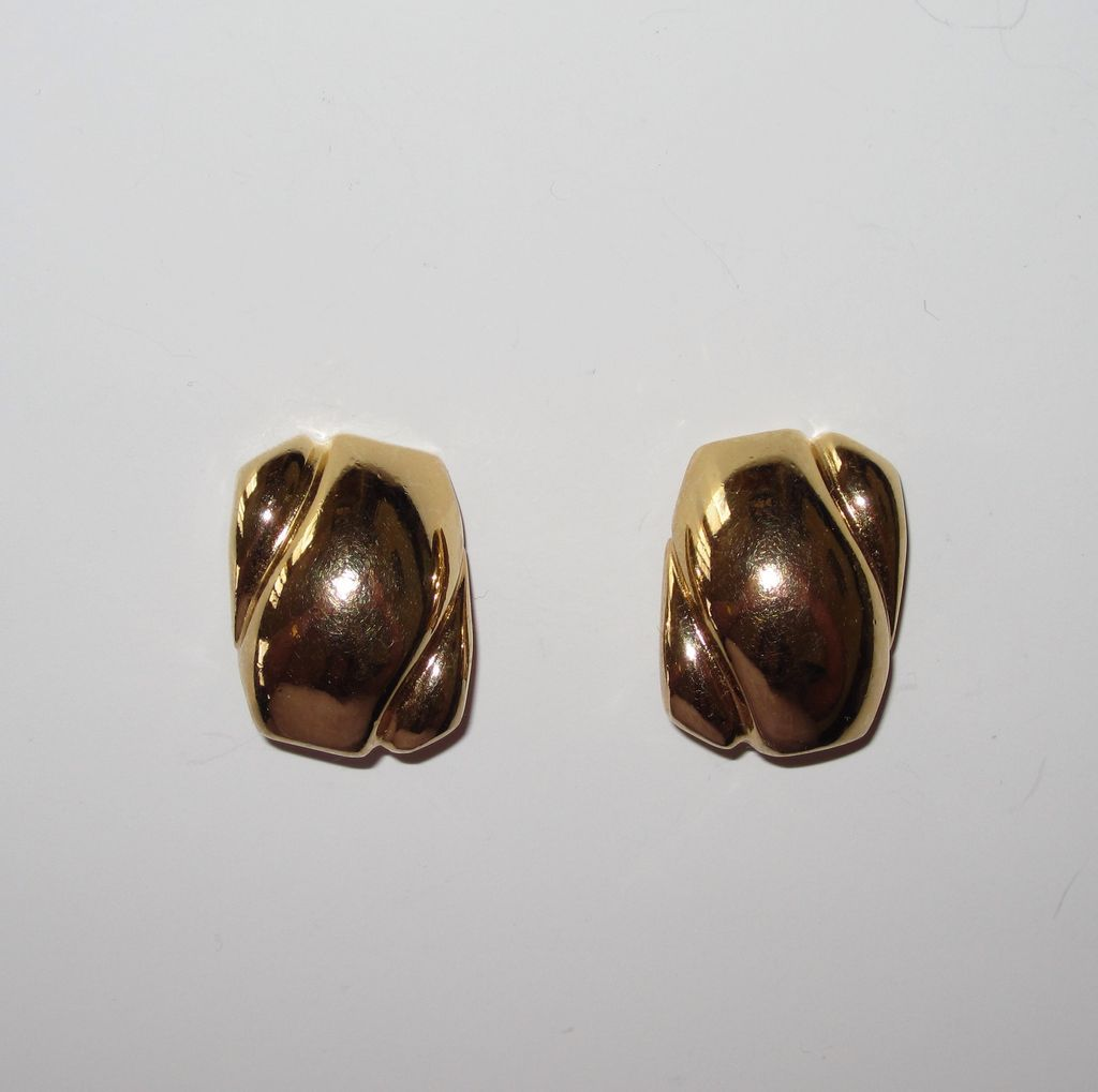 Vintage Bold Signed Christian Dior Clip Earrings