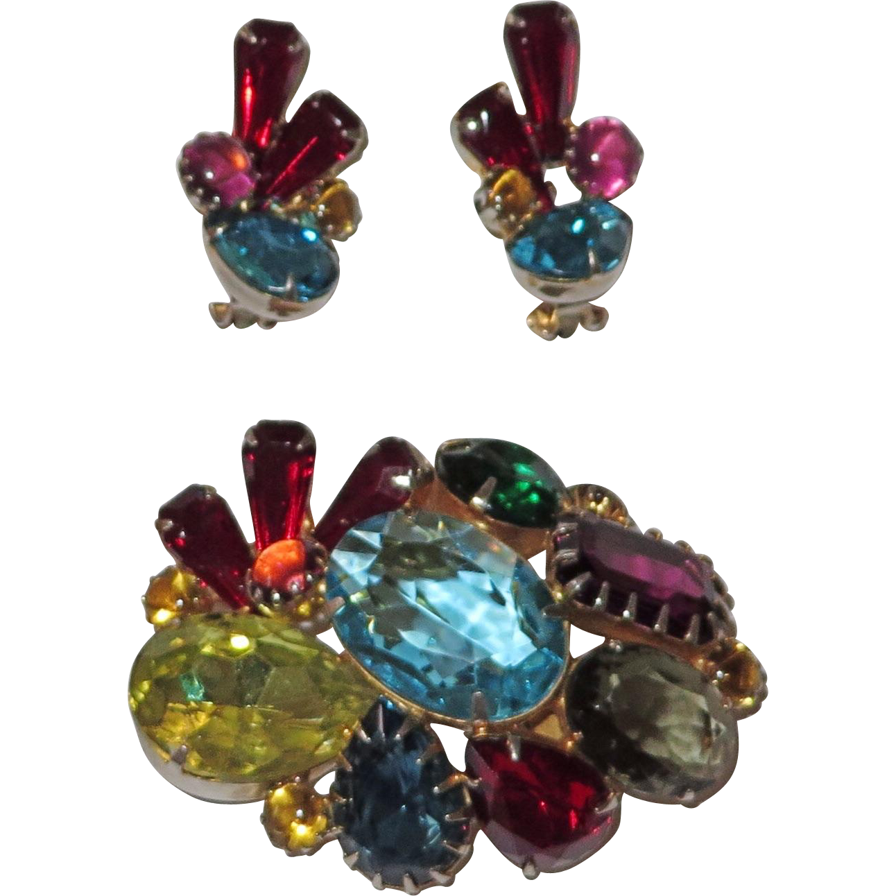 Large Fun Vintage Rhinestone Brooch and Earrings