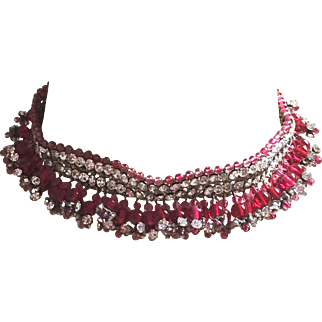 French Gripoix Choker Unsigned Deep Rose Pink with Rhinestones Gorgeous