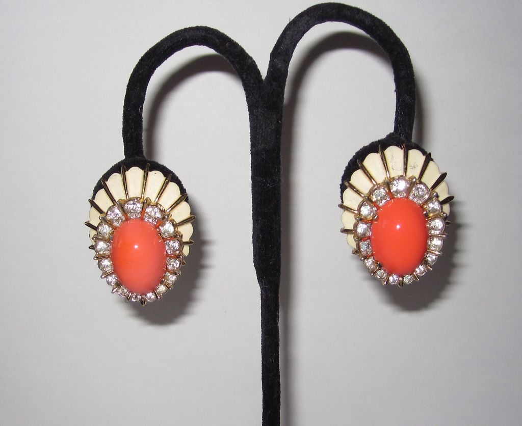 Jomaz Coral Color Large Clip Earrings