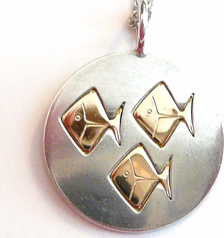 Signed Kupitaan Kulta Scandinavian Sterling Silver Pendant Fish