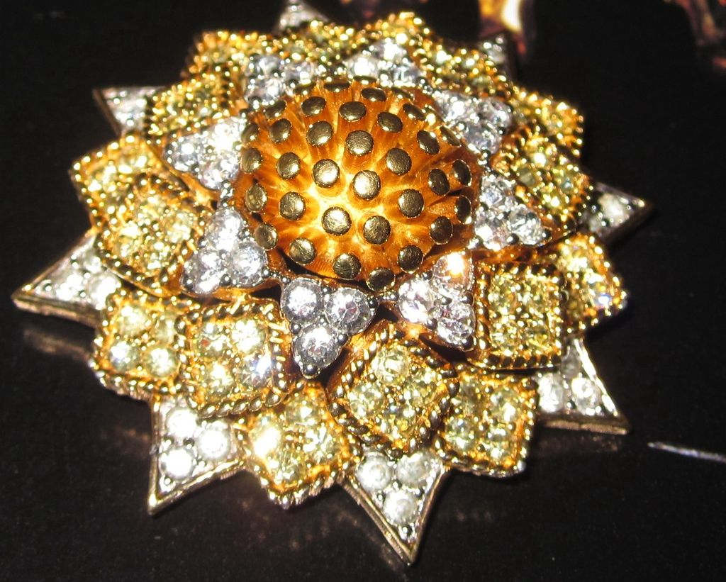 Joseph Mazer Jomaz Sunflower Set Brooch and Earrings Sunday Best!