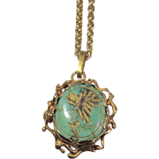 Antique Persian Turquoise 14K Gold Pendant