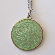Sterling St. Christopher Green Enamel Sterling Charm