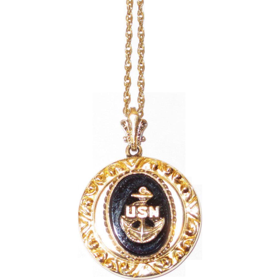 Vintage U.S. Navy Sweetheart Pendant Onyx
