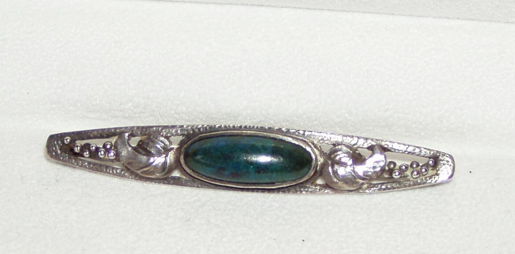 Arts and Crafts Silver Pin Azurite Stone