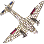 Vintage Rhinestone Airplane Brooch