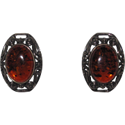 Vintage Sterling Baltic Amber Clip Earrings