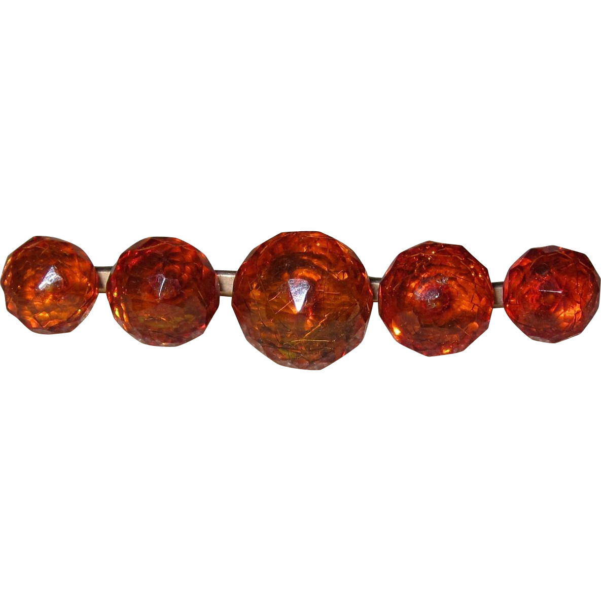 Victorian Faceted Amber Beads Bar Pin