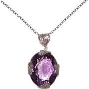 Large Amethyst Pendant in Filigree Setting