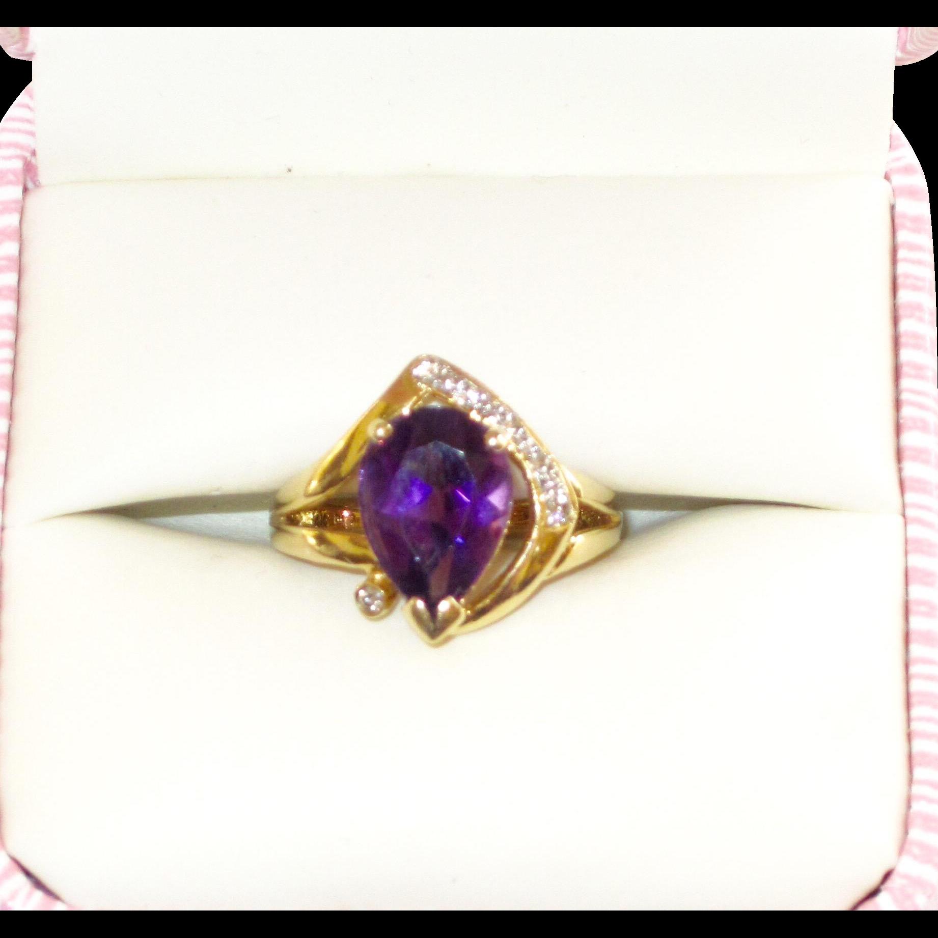 estate 14k 585 gold amethyst ring from phalan on ruby