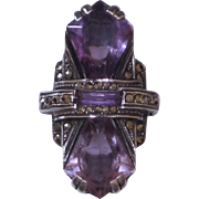 Sterling Germany Marcasite Amethyst Ring