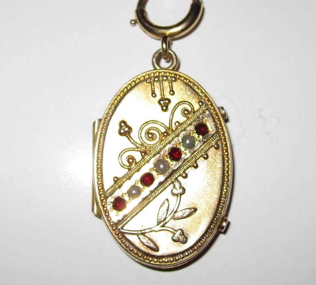 Victorian Garnet Seed Pearl Locket