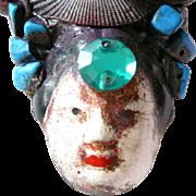Artist Brooch Asian Theme Face