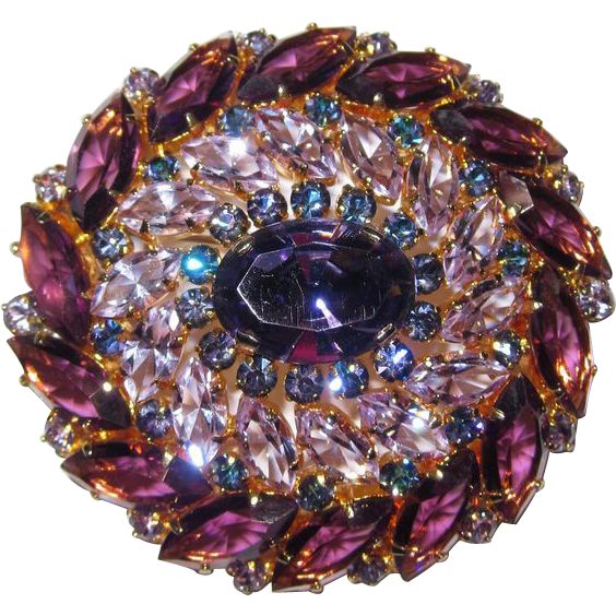 Vintage Austria Rhinestone Brooch/Pendant and  Earrings Purple