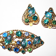 Vintage Austrian Crystal Blue Green Set Brooch Earrings