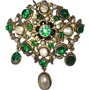 Austro Hungarian Brooch Pendant Green Stones Cultured Pearls