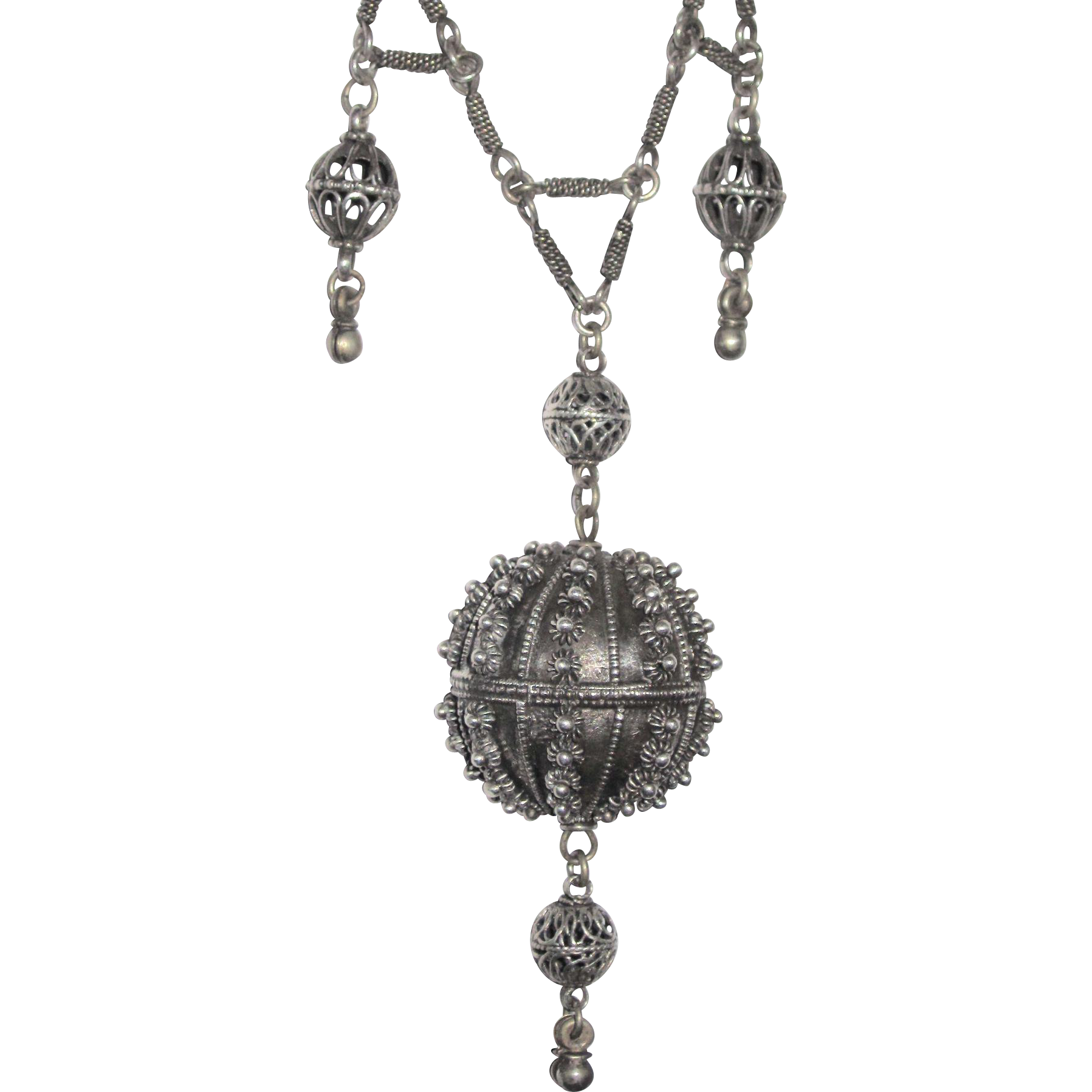 Victorian Cannetille Ball Necklace Silver Filigree Lariat Dangle Etruscan Granulation