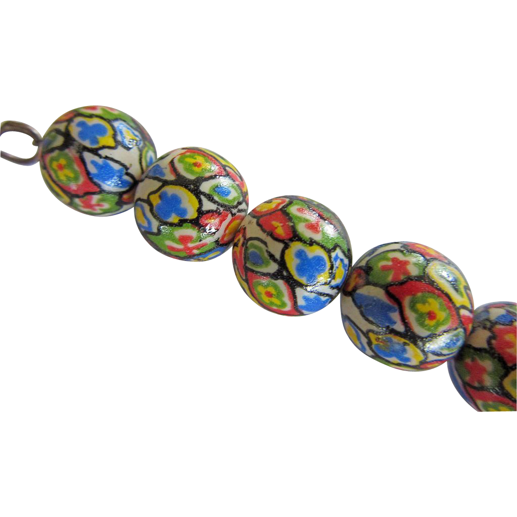 Vintage Porcelain Painted Beads