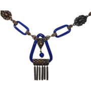 Art Deco Czech Lapis Glass Necklace
